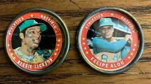 1971-Topps-COINS-108-Rejggie-Jackson-and-8-Felipe-Alou-A-039-s