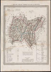 1839-Landkarte-Geografische-Antike-L-039-Ain-Verwaltungsbezirk-France-Gravur