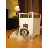 White Pet End Table Night Stand Dog Cat Gate Washroom House Litter Box Loo