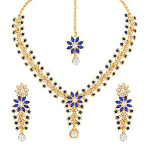 BLUE-Gold-Plated-Stunning-Indian-Fashion-Diamond-Ethnic-Party-Wear-Jewelry-Set