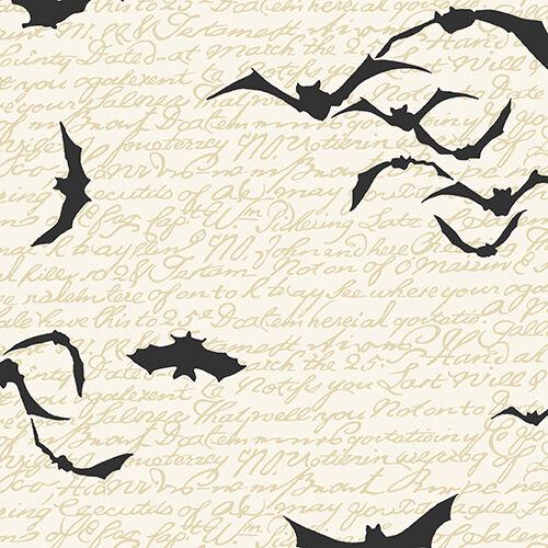Fat Quarter Chillingsworth Bats Halloween Cream 100/% Cotton Quilting Fabric