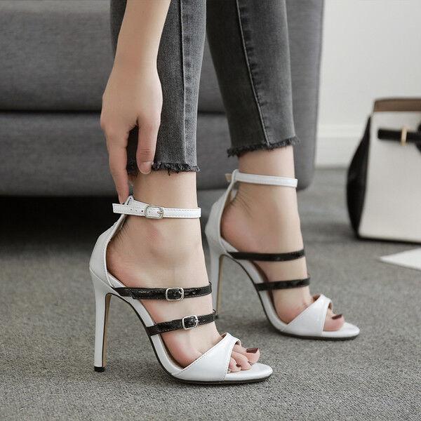 Sandali stiletto eleganti tacco   12 cm nero bianco simil pelle eleganti 9933