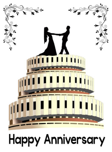 Anniversary card with old Sheffield Registry Office as Wedding Cake