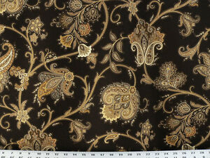 Drapery Upholstery Fabric Jacobean Floral Brown Gold Ivory On