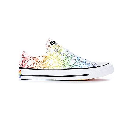 Mens Womens Converse CTAS Ox Pride Pack Chuck White & Rainbow LGBT Shoes | eBay