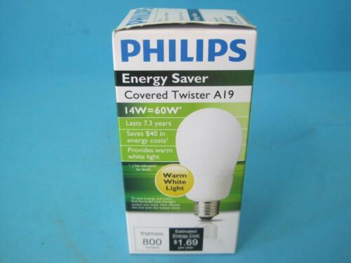 New Case of 6 Philips Energy Saver Covered Twister Warm White Light Bulb A19 14W