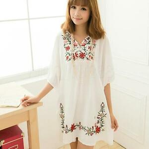 0bc81f85adab5 Image is loading Hot-Women-Ethnic-Mexican-Floral-Boho-Peasant-Dress-