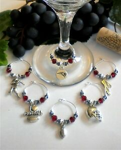 Set-of-6-Football-Wine-Glass-Charms-in-Team-Colors-w-Logo-amp-Mascots-Available