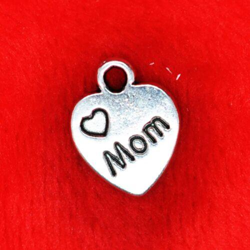 10 x Tibetan Silver /'I Love Mom XOXO/' Mum Charm Pendant Finding Beading Making