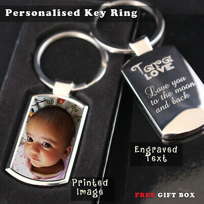 Personalised  engraved//photo print chrome collectable premium keyring//keychain ❤