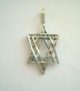 Vintage Sterling Silver Necklace 925 Pendant Amber Garnet Brutalist Flower