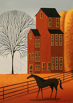 Autumn horses shadow tree landscape art Giclee ACEO print of painting Criswell