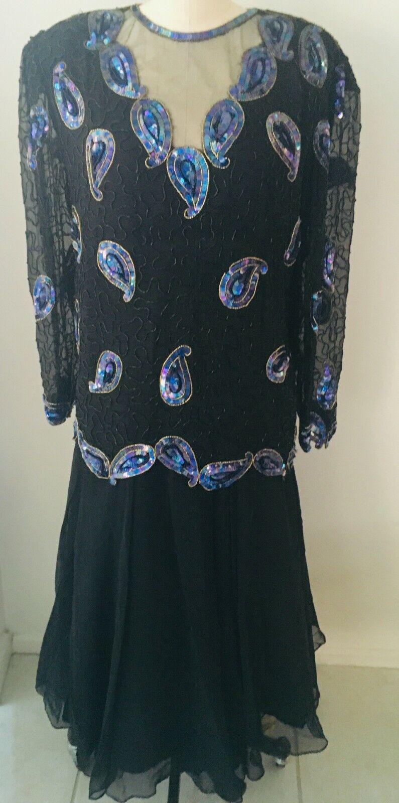 NINA COUTURE 2 Pc. Beaded Silk & Chiffon Evening Dress Black w/ Blue Size L