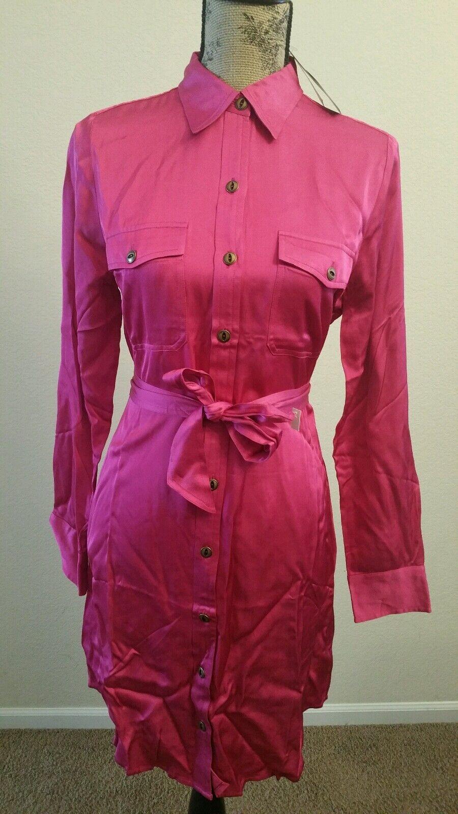 LAUREN RALPH LAUREN WOMEN BELT BUTTON DOWN MILITARY SHIRT DRESS PINK SZ 8P