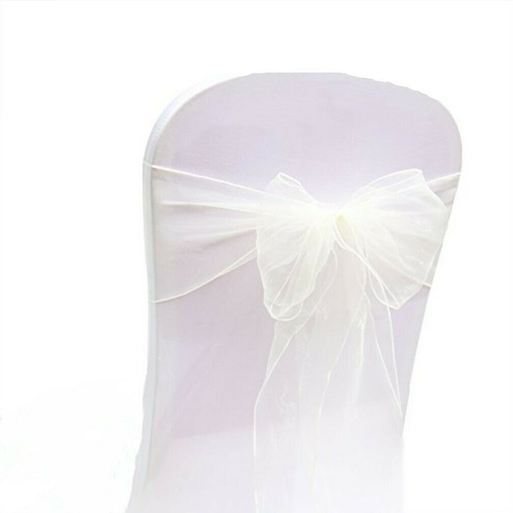 Ivory organza chair sashes chair ties bow Chair ribbon wedding anniversary decor