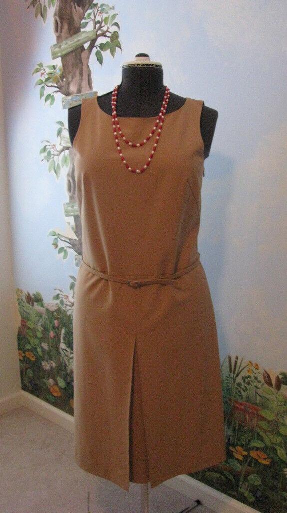 CASUAL CORNER Sleeveless Camel Beige Women's  Belted Dress Size 10
