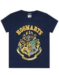 Harry-Potter-Hogwarts-Crest-Boy-039-s-Short-Sleeve-T-Shirt-in-Navy
