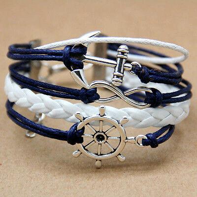Alloy Rudder Leder Paar Charm Bracelet  Freundschaft Liebe neu