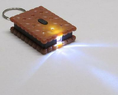 Tan/Black Square COOKIE Biscuit LED Flashlight KEY CHAIN Ring Keychain NEW