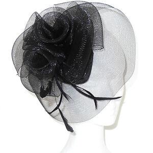 Caricamento dell immagine in corso Cappello-cerimonia-elegante-fascinator- piume-veletta-nero-TANTI- 9192df72fce
