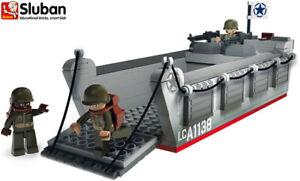 Sluban-Kids-Military-Army-Toy-Blocks-Bricks-70070-Landing-Craft-Soldier-Gun-Ship