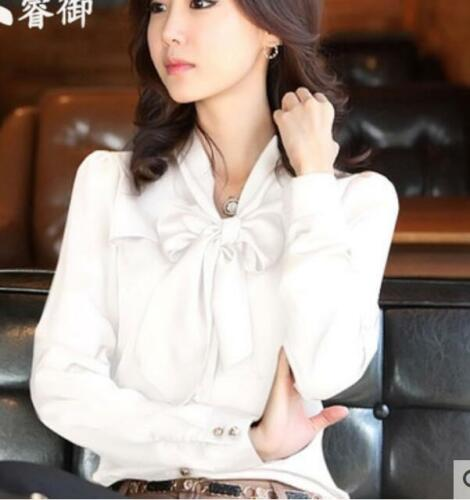 Ladies Korean Fashion Silk Chiffon Bowtie Collar Long Sleeve Office Shirts Tops