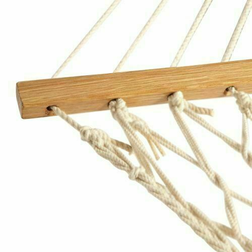 White Hanging Swing Hammock With Wood Stretcher Nylon Mesh Cotton Rope Porch Bed