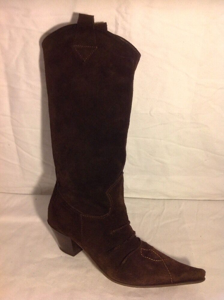 Ladies Dark Brown Mid Calf Suede Boots Size 37