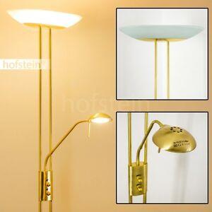 led decken fluter lese stehlampe messing b ro leuchte stand esszimmer dimmbar ebay. Black Bedroom Furniture Sets. Home Design Ideas
