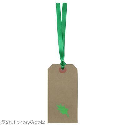 10 HOLLY Christmas Gift Tags Large Luggage Vintage Style Xmas Green Ribbon Tag