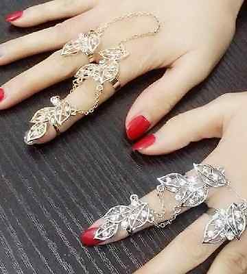 Large Links ring Double ring 2 Finger Ring Chain Rhinestone Leaves Joint ring