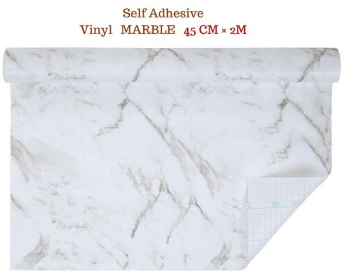 White Grey Marble colour Self Adhesive Vinyl Contact Paper Roll 45cm × 2m