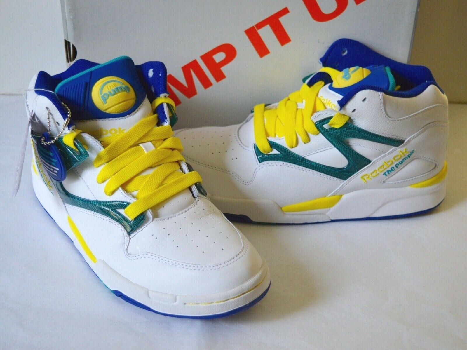 New Reebok Pump Omni Lite  oroen State Warriors bianca Royal blu giallo 8 RARE