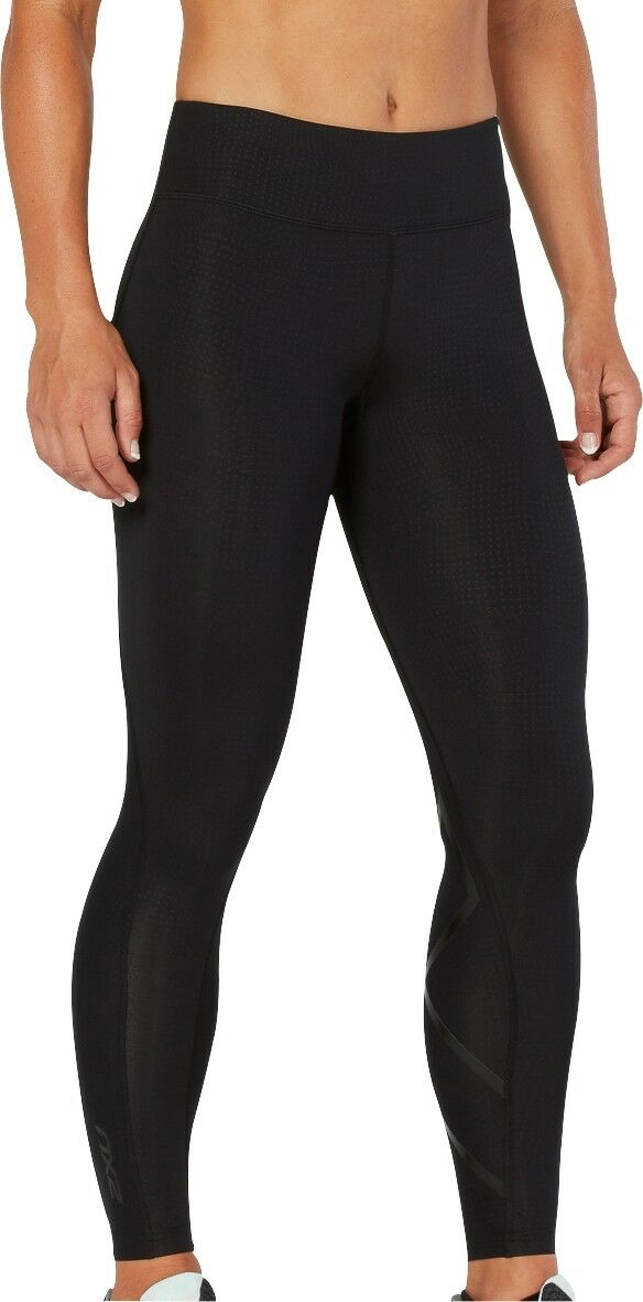 2XU Mid-Rise Print mujer Compression Tights negro Gym Running Workout