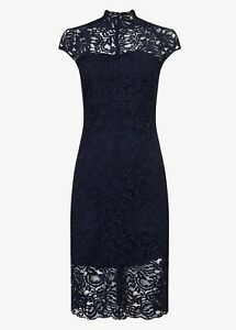 Phase-Eight-Black-Navy-Becky-Lace-Midi-Dress-Size-UK-8-to-14