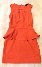 H & M Sleeveless Peplum Dress Size 4 Coral Orange Made in Turkey So Pretty