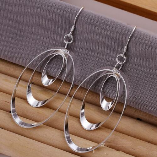 Silver Plated Triple Three Oval Earrings.Womens 925 Sterling Pair Of Drop//Dangle