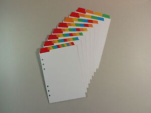 Filofax Pocket Dividers White Board with Multicoloured Top Positioned Mylar Tabs