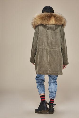 Cord Echtfell Waschbär Hooded Raccoon Echtpelz Jacket Coat Parka Jacke Mantel wqCX5C