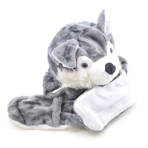 6843dc7f4b3 Winter Fluffy Plush Warm Husky Wolf Hat Long Arms Mittens Scarf Gift ...