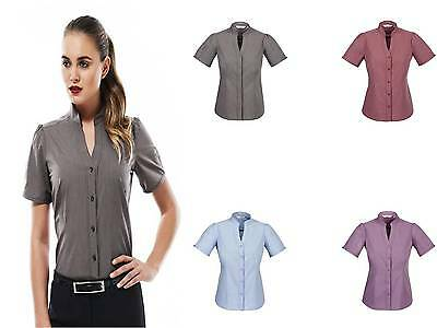Business Shirt Women Ladies Chevron Stand Collar Corporate Uniform Office S262LS