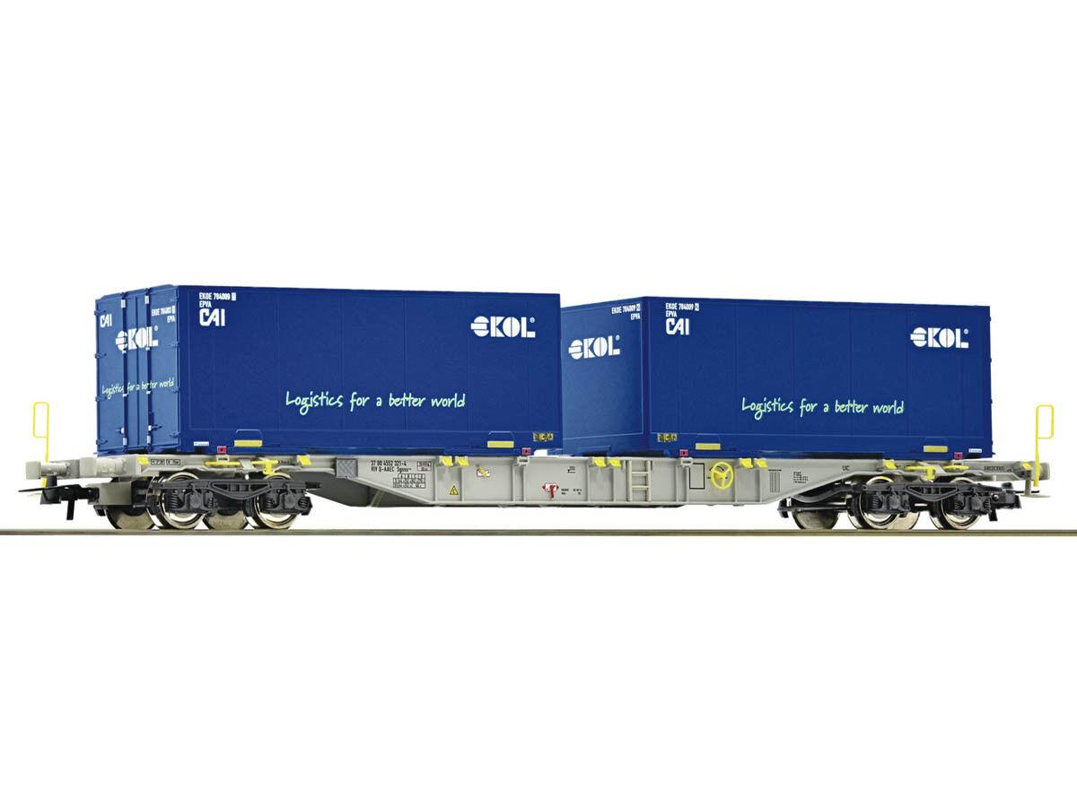 Roco 76947 Güterwagen Containertragwagen Ekol AAE H0