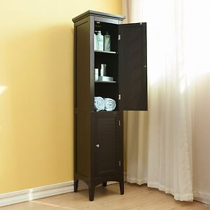 Tall Linen Tower Cabinet Organizer Storage Shelves Doors Bathroom