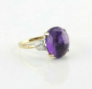 Vintage Amethyst Cabochon 9ct Yellow Gold ring size O ~ 7 14