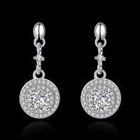 925 Sterling Silver Rhinestone Dangling Earrings Women Charm Ear Studs Jewelry