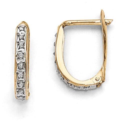 14k Yellow Gold Diamond Fascination Leverback Hinged Hoop Earrings 16mm x 2mm