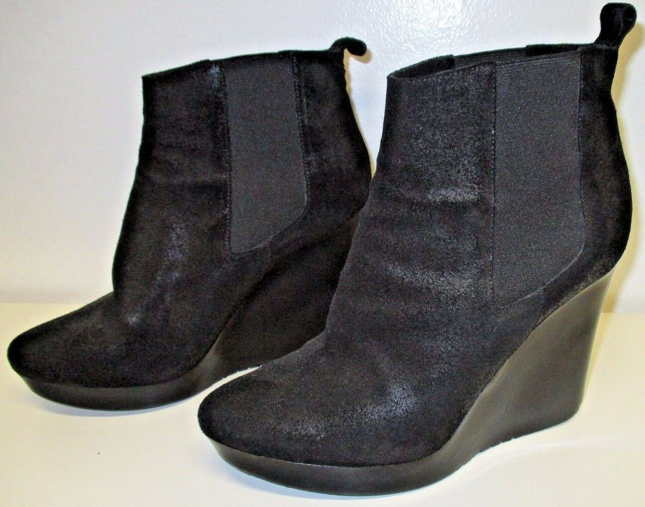 JIMMY CHOO Black Black Black Nubuck Leather Wedge Booties with Elastic Inserts - Size 40 6dbdb7