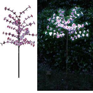Solar Power 4ft Pink Cherry Blossom Tree 100 White Led Lights Patio Balcony Ebay