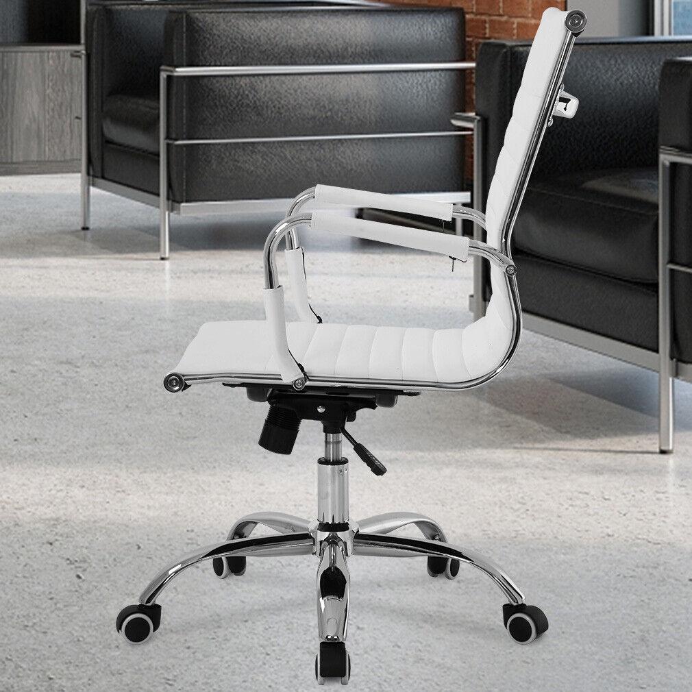 s l1600 - Silla de Oficina de Diseño Ergonomica Reclinable Piel Cuero Sintetico - Blanca