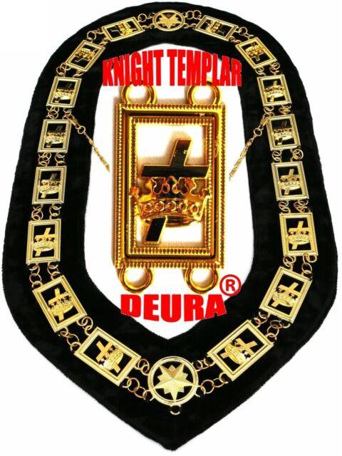 Masonic Knights Templar Collar Metal Golden Chain Black Velvet ...